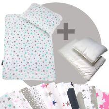 Bettwäsche-Set 4-tlg. für Kinderwagen Babybett Decke+Kissen+Füllung (STARS 7)