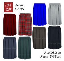 Girls School Skirt Pleated Elasticated Black Grey Navy Bottle Tartan Smart
