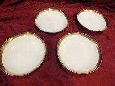 "4 Coupe Soup Bowls Noritake 6524 ""Compton"" Platinum,Bronze & Gold Band China"