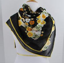 "Cotton Voile Black Yellow Large scarf Crochet Edge 39"" X 39"" Floral"