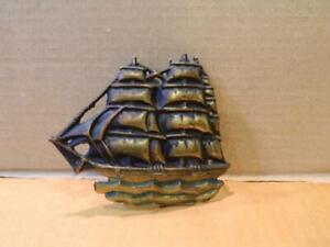 Brass Clipper Sailing Ship Door Knocker Gold Tone Vintage