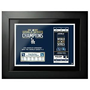 "Los Angeles Dodgers 2020 World Series Game 6 Ticket Photo (14"" x 18"") Framed"