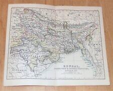 1888 ORIGINAL ANTIQUE MAP OF BENGAL NORTH-WEST CENTRAL PROVINCES ASSAM INDIA