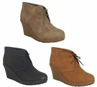LADIES ANKLE DESERT BOOTS WOMENS BIKER LACE UP WEDGE HEELS WINTER SHOES SIZE 3-8