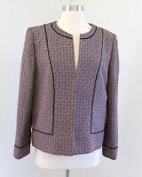 Tahari ASL Levine Pink Black Multi Color Tweed Collarless Blazer Jacket Size 14P