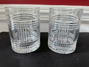 """Set of 2 Ralph Lauren Crystal Glen Plaid 4"""" Double Old Fashioned Whiskey Glasses"""