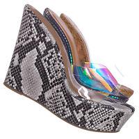 Choice40 Lucite Clear Platform Wedge Sandal - Cork & Hologram Snake