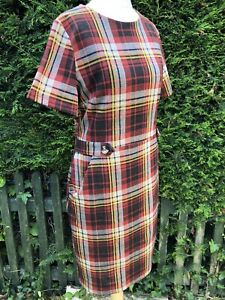 TU Women Ladies Size 14 Short Sleeved Tunic Dress Tartan Print Pockets VGC