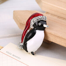 Christmas Rhinestone Cute Penguin Brooch Pin Xmas Gift Party Decoration