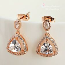 18K Rose Gold Plated Simulated Diamond Trilliant Cut Sparking Stud Earrings