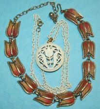 Vintage Crown TRIFARI Metal TULIP Choker Necklace lot of 2 White ENAMEL Pendant