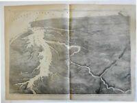 Map seat of Civil War birds-eye view Fort Pickens Cape Henry 1861 Harper's print