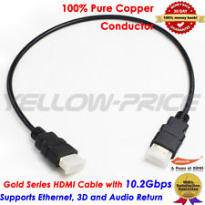 2FT 0.6M GOLD HDMI v1.4 Cable Super High-Speed 1080p 3D 2 ft feet foot 0.6 M