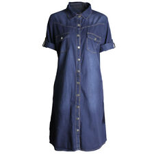 Fashion Womens Denim Loose Large Buttons Long Womens Seven-Sleeve Casual Dress