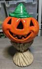 "Vintage Yozie Mold 13"" Ceramic Halloween Jack O Lantern Pumpkin On Haystack Prop"