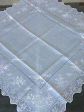 Sur nappe Etamine de soie Broderie main Linge ancien Indochine 1624/117-1