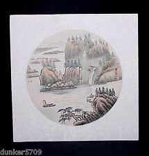 ORIENTAL RICE PAPER PAINTING READY FOR FRAMING 12 INCHES SQUARE LANDSCAPE #5