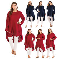Ladies Women Dress Plus Size Long Sleeve Blouse Casual Loose Tops Maxi Blouse