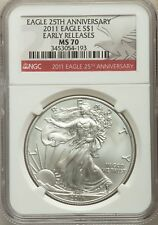2011 Silver Eagle S$1, 25th Anniversary, Early Releases, NGC MS 70