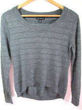 WILLI SMITH Women's Hi Lo Sweater M Scoop Gray WOOL Pullover Pointelle Stripe