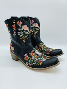 PAOTMBU Women's Black Embroidered-Floral Cowboy Western Boots US 9    #A-15