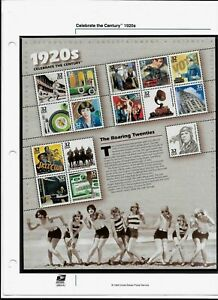 US HISTORY #3184 CELEBRATE THE CENTURY 1920's 15 MVF 32c STAMP SHEET WITH MOUNT