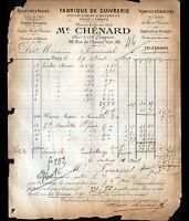 """PARIS (XI°) USINE de CUIVRERIE d'AMEUBLEMENT """"A. QUIGNON / M. CHENARD"""" en 1895"""