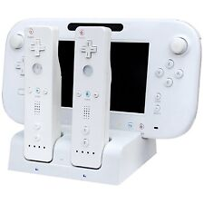 BIANCO Caricabatterie Docking Station +2 X Battery Pack per Wii e Wii U Remote Gamepad