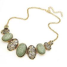 Collar Babero Estilo Étnico con Piedras Oval Verde  Metal Chapado