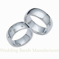 18k White Gold Matching His & Hers Wedding Bands Rings Mens Womens Set