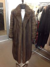 NATURAL  RUSSIAN SABLE COAT MATCHING HAT, SWIRLED SLEEVES, ROLLBACK CUFFS MINT
