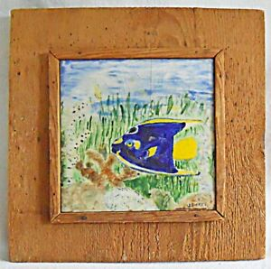 Painting Vintage Southern Outsider Folk Tile Tropical Angel Fish Framed Dicker