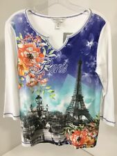 CHRISTOPHER & BANKS WOMEN'S PARIS IN SPRING 3/4 T SHIRT WHT/MULTI SM PETITE NWT