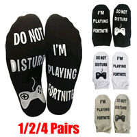 1-4Pairs Novelty Socks DO NOT DISTURB/ I'M PLAYING FORTNITE Gift Birthday Game P