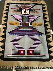 "Vintage Southwestern Native Geometric American Wool Carpet Rug 47""x64"""