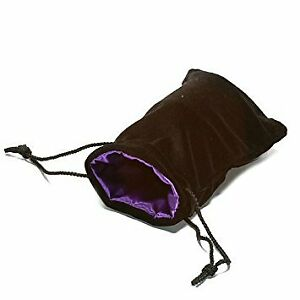 "Black Velvet Dice Bag: Purple Satin Lining (5"" x 8"")"