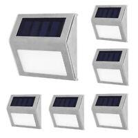 6pcs LED Solar Power Wall Light Outdoor Garden Path Fence Yard Lamp Waterproof