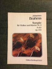 Johannes Brahms Sonate pour violon et piano n°2 opus 100 partition Breitkopf