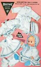 """KNITTING PATTERN TO MAKE VINTAGE BABY DOLLS CLOTHES 6 ITEMS FOR 10"""" DOLL"""