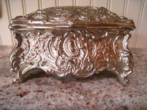 """Vintage Large Jewelry Box Silver Tone Silk Lined Made in Italy 6"""" x 3.5"""" REDUCED"""