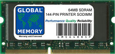 64 Mo SDRAM 144-PIN Imprimante Ram (ZMC64/A, 001339MIU, 001178MIU, 000829 MIUL)