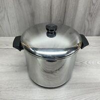 Vintage Revere Ware 8 Qt. Stock Pot Pan Bottom Stainless Steel - W/Lid 1801
