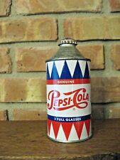 "ORIGINAL Genuine PEPSI-COLA Single Dot Cap cone top soda can ""2 FULL GLASSES"""