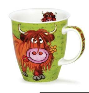 Green Colourful Highland Coo Cow Dunoon Fine Bone China Mug Nevis Shape