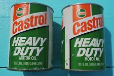 VTG: CASTROL Oil Cans SAE 40W Heavy Duty 1 Quart SF-SE-CC - U.S. & Foreign. 2Ea.