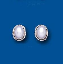 Oval Pearl Stud Costume Earrings