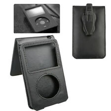 Leather Sleeve Pouch Case With Belt Clip for iPod Classic 80GB/120GB/160GB Black