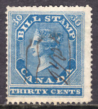 CANADA FIRST BILL STAMP #FB12 30c BLUE, 1864 PERF12½x13½, USED