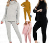 WOMENS KNITTED HIGH ROLL NECK TOP BOTTOM LOUNGEWEAR TRACKSUIT CO ORD SET UK