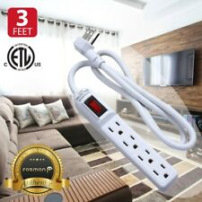 Flat Plug Extension Cord 3 Prong 4 Outlet Extender Surge Protector Power Strip